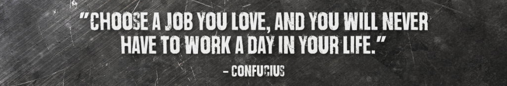 """Choose a job you love, and you will never have to work a day in your life."" –Confucius"